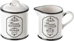 Set zaharniță și cană pentru lapte din ceramică Unimasa Paris