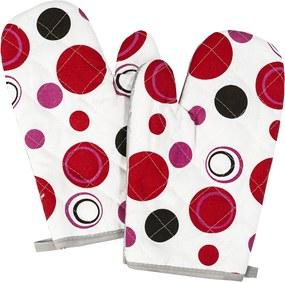 Mănușă bucătărie Bulină roșie, 28 x 18 cm, set 2 buc.