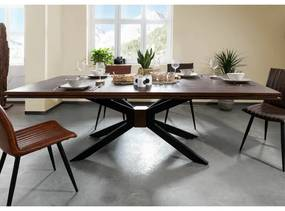 Masa Massivmoebel24, lemn masiv, maro/negru, 210 x 107 x 76 cm