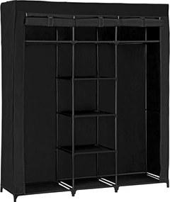 [neu.holz]® Dulap haine - dulap textil depozitare (175x150cm) negru