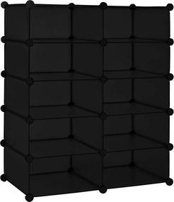 [neu.haus]® Dulap haine Modell 2, 90 x 73 x 37 cm, 10 compartimente depozitare, otel/plastic, negru