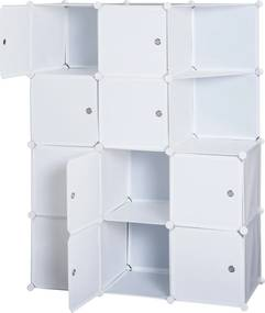 Homcom Dulap Gardaroba Modulara 10 Cuburi, Alb,111x47x145cm