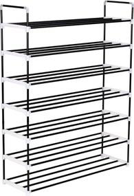 245627 vidaXL Raft încălțăminte cu 7 etajere din metal și plastic Negru