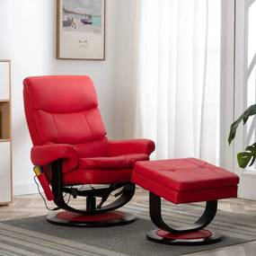 289898 vidaXL Fotoliu rabatabil de masaj, roșu, piele ecologică/lemn curbat
