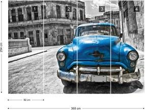 Fototapet GLIX - Vintage Car Cuba Havana Blue + adeziv GRATUIT Papírová tapeta  - 368x254 cm