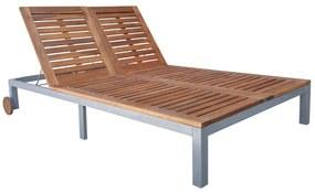 44612 vidaXL Șezlong dublu de exterior, lemn masiv de acacia, 207x130x88 cm
