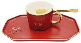 Set Cafea din Portelan, Ceasca, Platou si Lingurita, SECRET