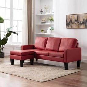 288771 vidaXL Canapea cu 3 locuri și taburet, roșu vin, piele ecologică