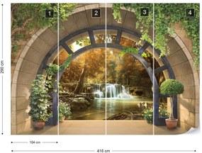 Fototapet GLIX - Forest Waterfall Archway View + adeziv GRATUIT Tapet nețesute - 254x184 cm