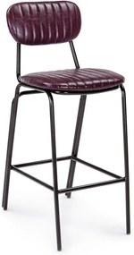 Scaun de bar cu spatar picioare fier negru si sezut piele ecologica bordeaux Debbie 44 cm x 51 cm x 100 h x 74 h1