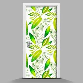 Autocolant de uşă Frunze verzi