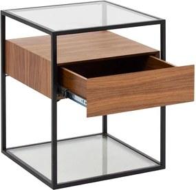 Masuta cafea din lemn si sticla cu sertar Helix | ZAGO