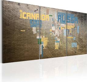 Tablou Bimago - Map of the World - industrial style 120x60 cm