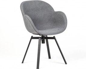 Scaun dining rotativ gri din otel si textil Malmo Grey Malo Design