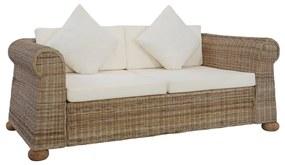 283073 vidaXL Canapea cu 2 locuri cu perne, culoare naturală, ratan