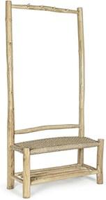 Cuier de podea din lemn natur cu 2 polite si 4 agatatori Lampok 90 cm x 40 cm x 180 h x 45 h1