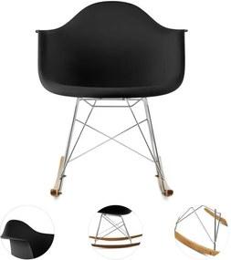 OneConcept AUREL, negru, scaun balansoar, retro, scaun PP, lemn de mesteacăn