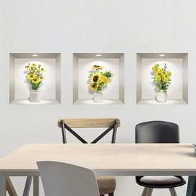 Set 3 autocolante 3D pentru perete Ambiance Yellow Flowers