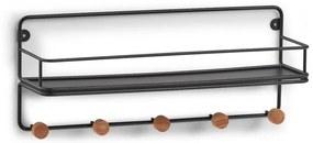 Cuier Zeller Wood Steel, negru, 45 x 11.8 x 18 cm