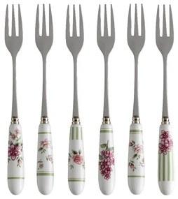 Set 6 furculițe cu mâner din ceramică Brandani Nonna Rosa