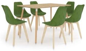 3056146 vidaXL Set de masă, 7 piese, verde deschis