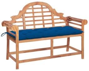 3062260 vidaXL Bancă de grădină cu pernă albastră, 120 cm, lemn masiv de tec