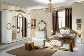 Dormitor Barocco Bianco, alb/auriu, pat 160x200 cm, dulap cu 6 usi, comoda, 2 noptiere