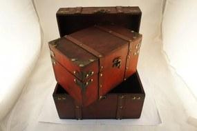 Set 2 cufere lemn tinte metal