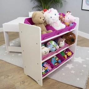 Organizator Ourbaby pentru jucării cu cutii depozitare roz