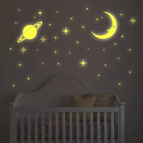 Sticker Moon and Stars Glow -  Stickere Decorative BeeStick