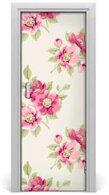 Autocolante pentru usi flori roz