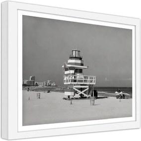 CARO Imagine în cadru - Retro Miami Beach 70x50 cm Alb