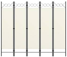 320707 vidaXL Paravan de cameră cu 5 panouri, alb crem, 200 x 180 cm