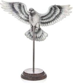 Decoratiune Porumbel  Nichel Tumblat 37 cm - Gri