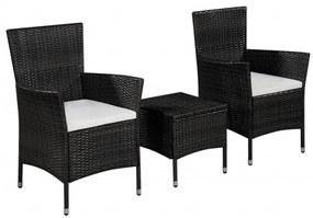 Set mobilier bistro de exterior, poliratan, negru