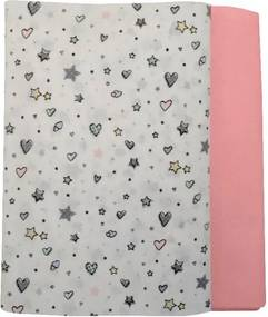 Set cearceafuri Stelute cu roz cu elastic pentru saltea 70 x 140 cm
