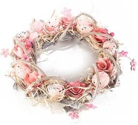 Coronita Paste din lemn decorata cu oua si flori roz Ø 30 cm