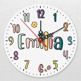Ceas de perete personalizat - Litere pastel