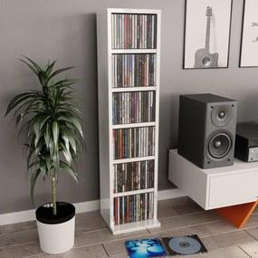 800357 vidaXL Dulap CD-uri, alb extralucios, 21 x 20 x 88 cm, PAL