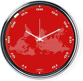 Ceas invers cu o hartă mondială 2 - roșu, diametru 32 cm | DSGN