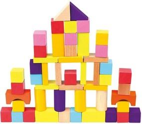 Cuburi din lemn cu găletuță Bino, 50 buc. roz