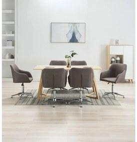 278446 vidaXL Scaune de sufragerie pivotante, 6 buc., gri taupe, textil