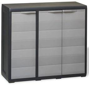 43705 vidaXL Dulap de depozitare pentru grădină, cu 2 rafturi, negru și gri