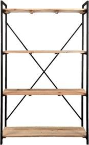 Raft din fier negru cu 4 polite din lemn natur 120 cm x 38 cm x 191 h