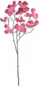 Crenguta artificiala flori cornus roz fucsia 73 cm