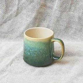 Cana Emerald din ceramica verde si crem 9 cm