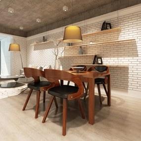270039 vidaXL Scaune de bucătărie 4 buc., maro, lemn curbat & piele ecologică