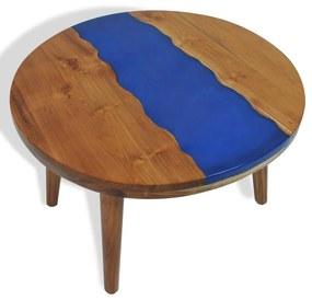 245066 vidaXL Măsuță de cafea, 60 x 40 cm, lemn de tec și rășină