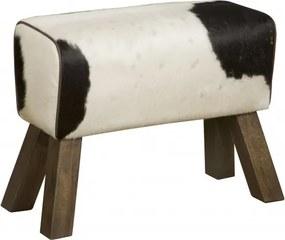 Taburet din piele de vaca cu imprimeu Renew negru/alb