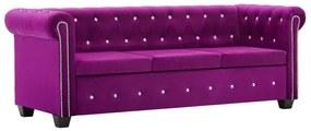 247147 vidaXL Canapea Chesterfield 3 locuri, catifea, 199x75x72 cm, violet
